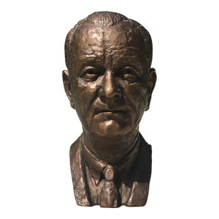 1966 President Johnson Bronze Bust by Jimilu Mason