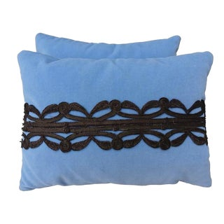 Sky Blue Pillows With Metallic Appliques - A Pair
