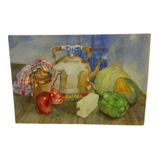"""""""Tea Kettle"""" Antique Original Painting by Stephen Pole"""