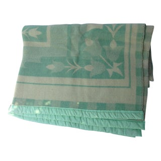 1950s Reversible Green Tulip Print Blanket
