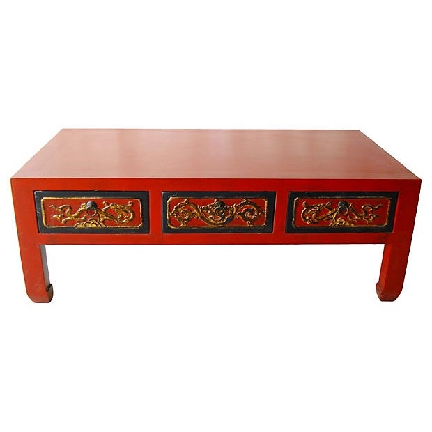 Image of Red Lacquer Wood Coffee Table