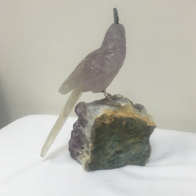 Amethyst Carved Bird Figurine on Stone Stand - Image 5 of 5
