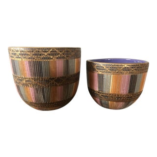 Aldo Londi Bitossi Sgraffito Pottery Planters- a Pair