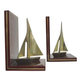 Redwood & Brass Sailboat Bookends - A Pair