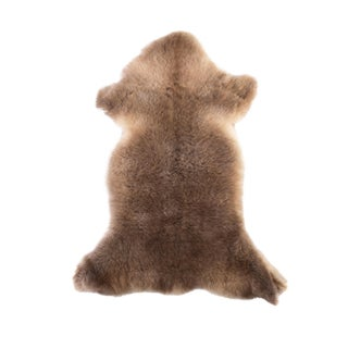"Handmade Brown Sheepskin Rug - 3'4""x1'8"""