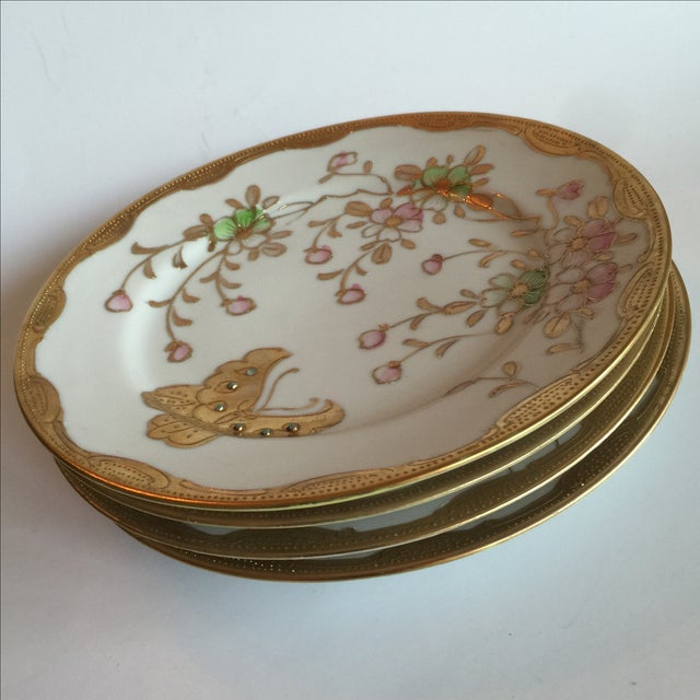 Mid-Century Asian Butterfly Plates - Set of 4 - Image 4 of 10