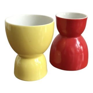 Red & Yellow Vintage Ceramic Glasses - A Pair