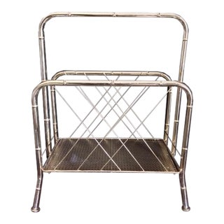 Vintage Brass Faux Bamboo & Faux Cane Magazine Rack