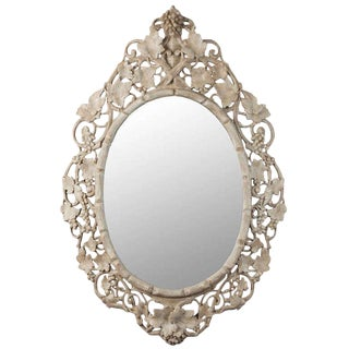 Large Beveled Oval Mirror with Carved Grape Vines