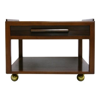 Mahogany Dunbar End Table on Brass Casters