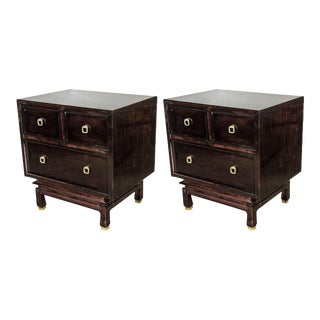 Pair of Mid-Century Modernist Nightstands/End Tables in Ebonized Mahogany