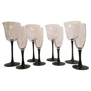 Jet-Black Stemmed Glasses - Set of 8