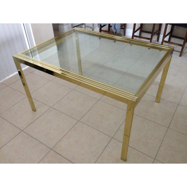 Vintage Brass Glass DIA Expandable Dining Table Chairish