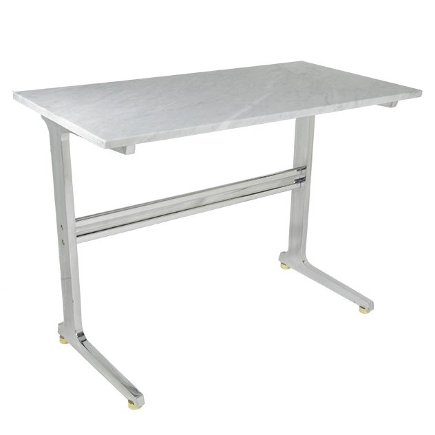 Petite Polished Aluminum Writing Desk Marble Top - Image 1 of 3