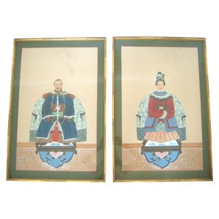 Fine Chinese Ancestor Portrait Paintings - Pair
