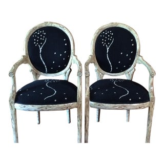 Michael Taylor Chairs with Sally Circum Lewis Upholstery - A Pair