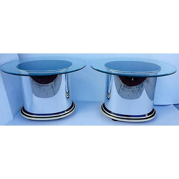 Image of Mid-Century Glass & Steel Side Tables - A Pair