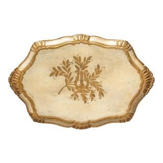 Large Italian Florentine Cream & Gold Tray