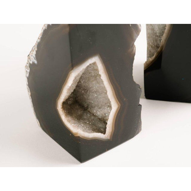 Pair of Organic Agate Stone and Rock Crystal Bookends - Image 6 of 9