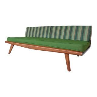 Vintage Mid Century Modern Walnut Base Platform Sofa