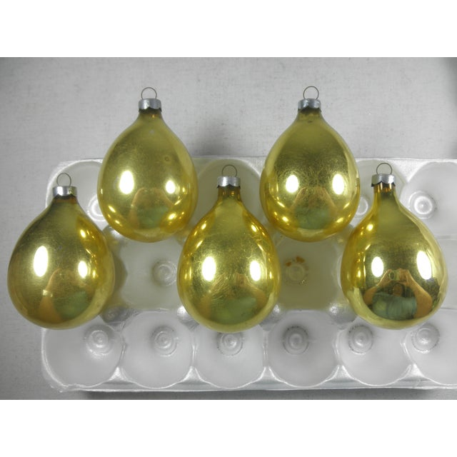 Gold Glass Drop Ornaments - Set of 5 - Image 2 of 3