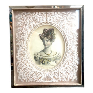 Victorian Woman Mirrored and Jeweled Print
