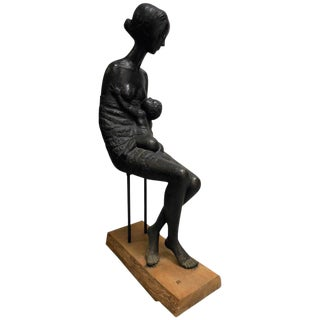 """Maternity"" Modernist Bronze Sculpture by Pino Conte"