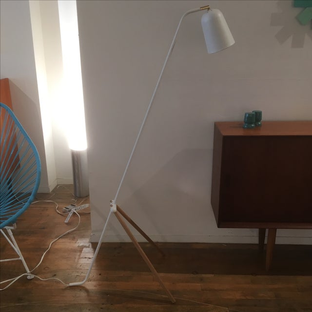 Modern White Metal & Teak Floor Lamp - Image 2 of 9