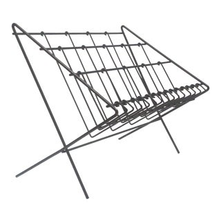 Mid-Century Three-Tier Iron Magazine Rack