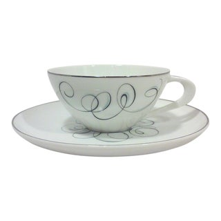 Mid-Century Black and White Porcelain Cup and Saucer