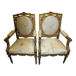 Antique French Giltwood Fauteuil Chairs - A Pair