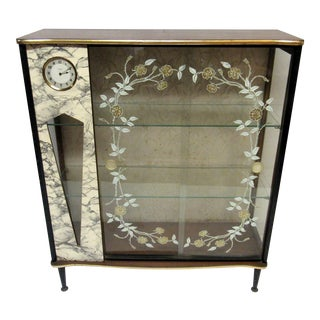 Art Deco Display Cabinet With Clock