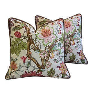 "22"" Custom Tailored English Jacobean Floral Feather/Down Pillows - Pair"
