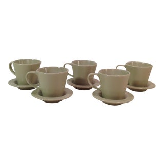 Green Espresso Cups & Saucers - Set of 5