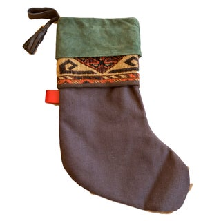 Antique Rug Fragment Stocking Green