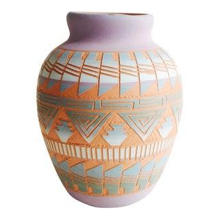 Vintage Carved Navajo Pottery Vase