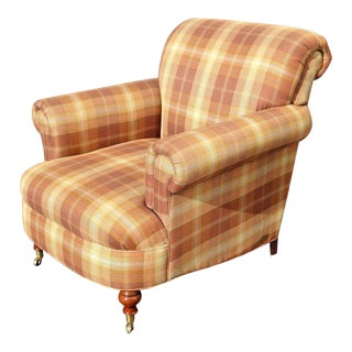Ralph Lauren French Country Brown & Beige Plaid Club Chair