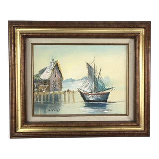 Original Vintage Brutalist Sailboat in Harbor Oil Painting