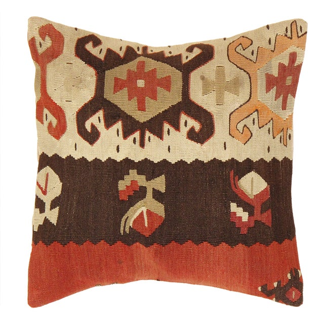 Turkish Pasargad Decorative Vintage Kilim Pillow - Image 1 of 2