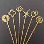 Image of Geometric Gold Glitter Drink Stirrers - Set of 6