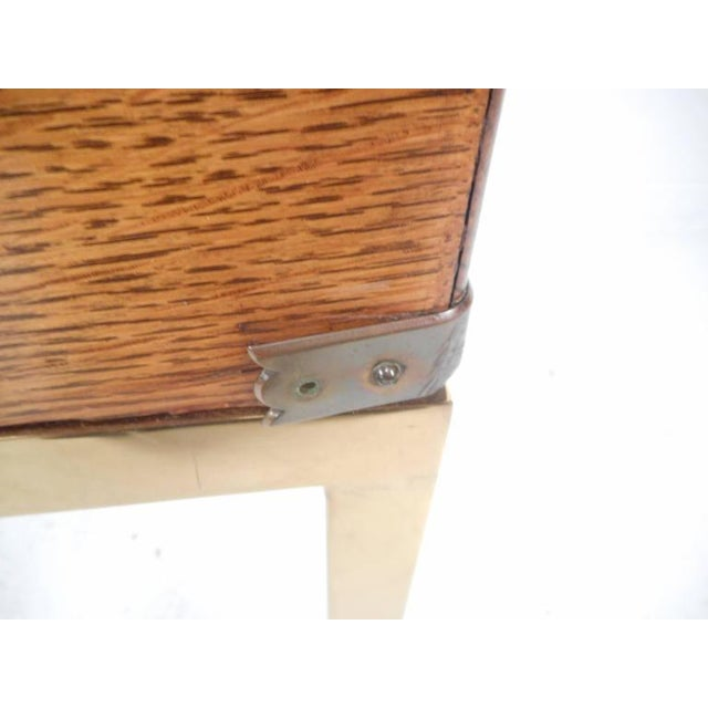 Mid-Century Modern Single Drawer Campaign Style Stand - Image 9 of 11