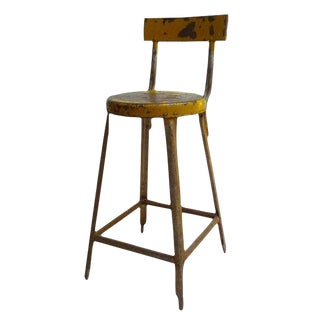 Vintage Yellow Industrial Stool