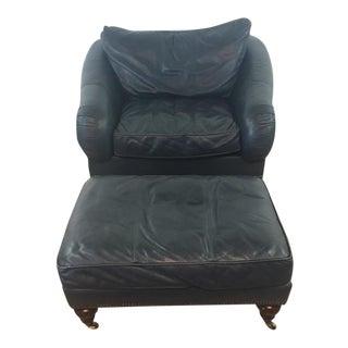 Drexel Heritage Leather Armchair& Ottoman Set - A Pair