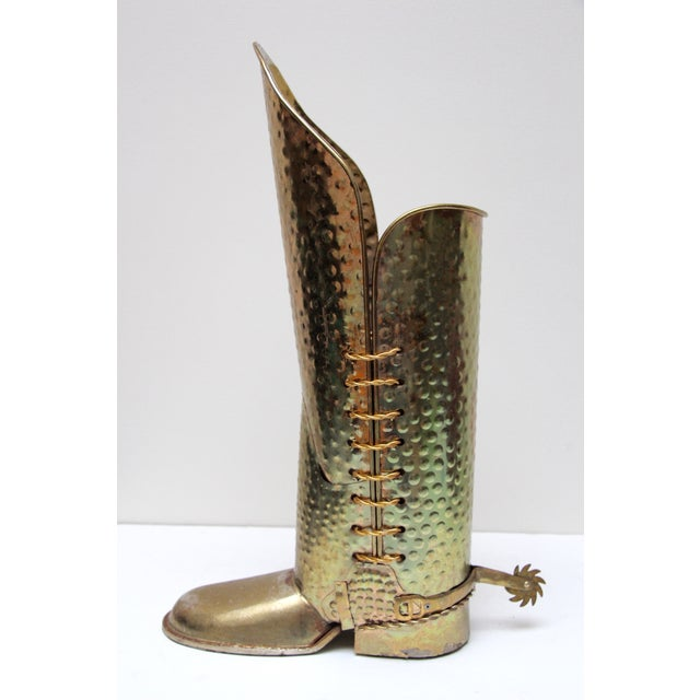 Brass Cowboy Boot Umbrella Stand - Image 5 of 8