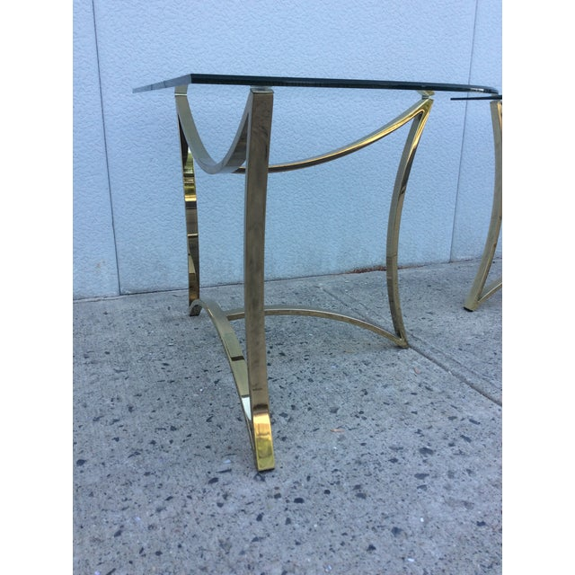 1970's Modern Demi Lune Brass Side Tables - Image 8 of 11