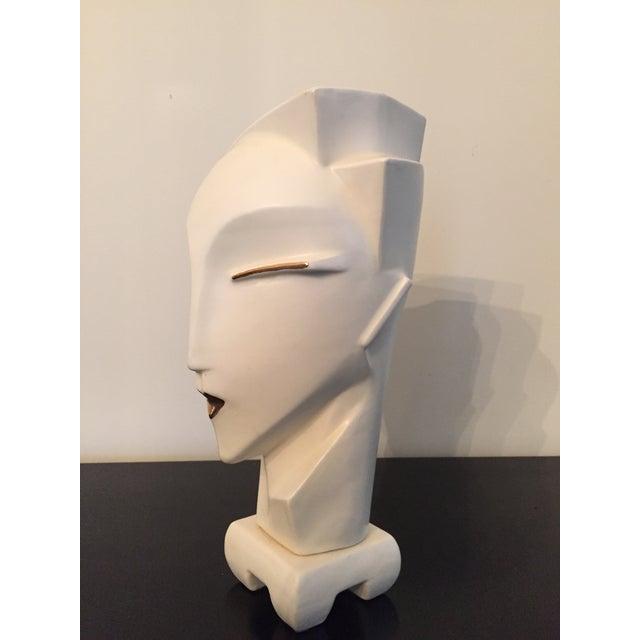 Vintage 1980s Deco Revival White Bust Sculpture - Image 5 of 9