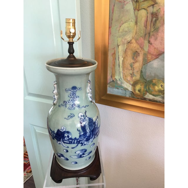 1940s Celadon Foo Dogs Lamp - Image 4 of 7