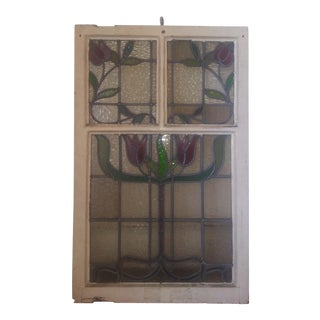 Vintage Stained Glass Window Panel Leaded
