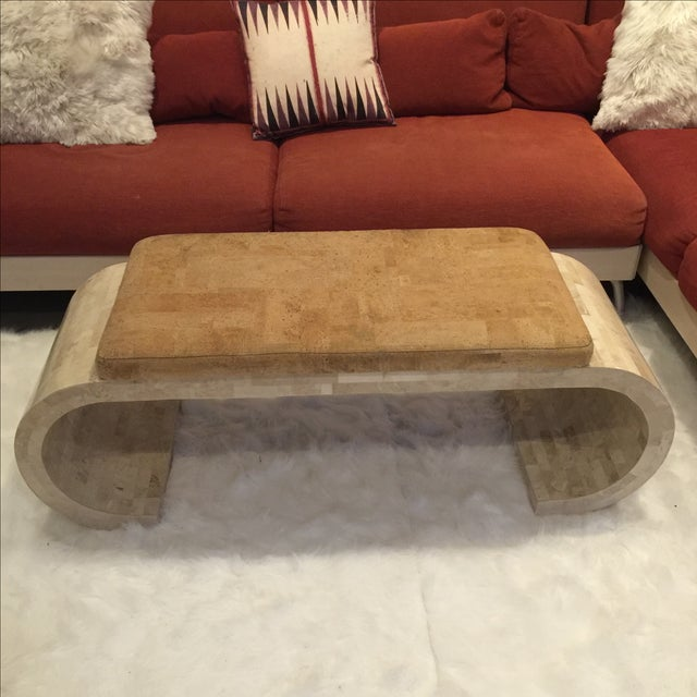 Karl Springer-Style Marble & Faux Cork Bench - Image 2 of 6
