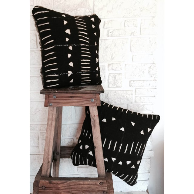 Image of Black Mod African Mud Cloth Pillow